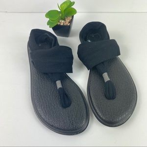 Sanuk Yoga Sling Black Sandals Size 9 Shoes